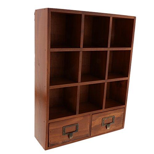 Fenteer 9 Cube Wooden Storage Box Desktop Storage Rack Household Accessories Home Organization Storage Rack Holder with 2 Drawers - - Desktop Cubbies