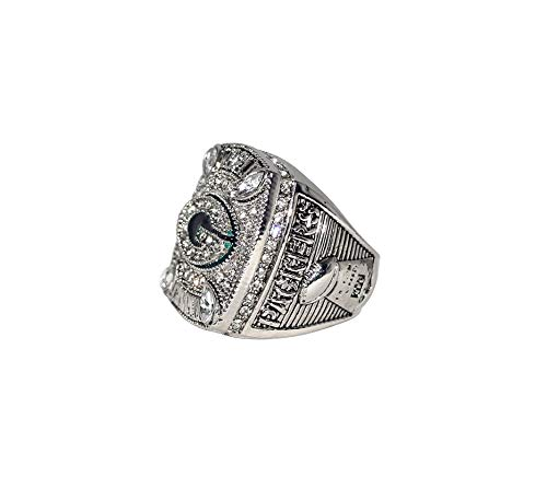 GREEN BAY PACKERS (Aaron Rodgers) 2010 SUPER BOWL XLV WORLD CHAMPIONS Rare Collectible High Quality Replica NFL Football Silver Championship Ring with Cherrywood Display Box