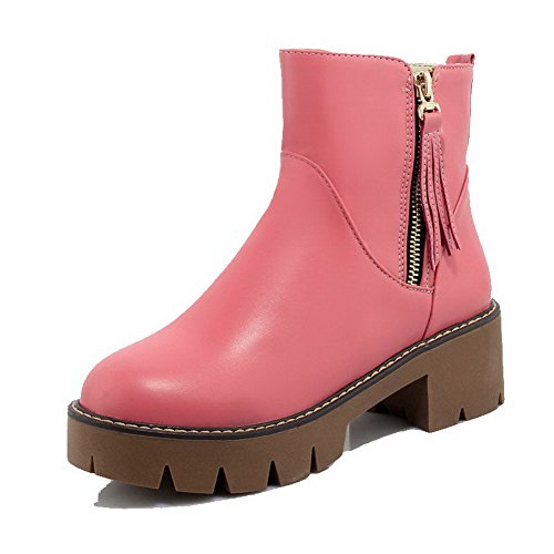 Heels Low Top Kitten WeiPoot Closed Zipper Pink Round Women's PU Toe Boots 6q8BY6