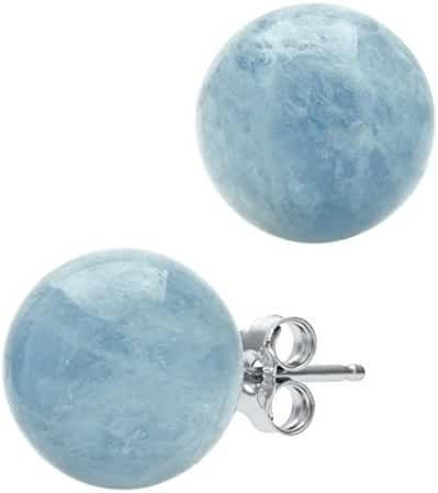 Sterling Silver Genuine Milky Aquamarine Blue Gemstone Stud Earrings