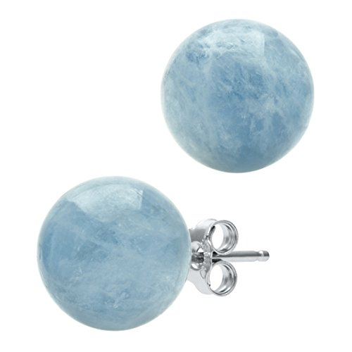 Large Aquamarine Ring (Sterling Silver Natural Milky Aquamarine Gemstone Round Blue Stud Earrings (10mm))