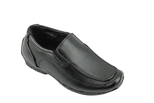 Price comparison product image New Teens Boys Kids Faux Leather Slip on Loafers Smart Casual Back School Trainers Shoes UK Sizes [Black, UK 10 EU 28]