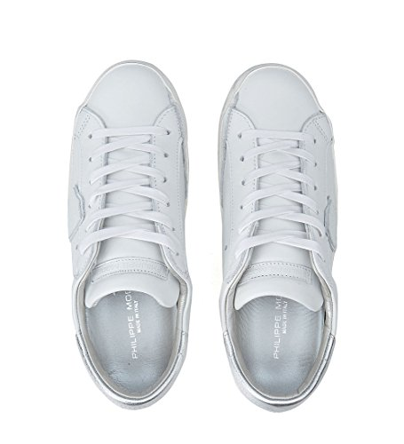 Philippe Model Paris White and Silver Leather Sneaker White rTZ9vb
