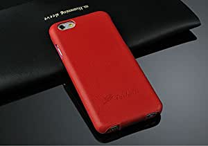 """2IN1 Up-Down Open Folio Design 100% Genuine Leather Case + Premium Tempered Glass Screen Protector For iPhone 6 4.7"""" (Red)"""