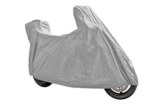 Ventura Plus, motorcycle cover - XL Shaped for motorcycles/scooters with windscreen and top case. Made of PEVA. Weld sewings. Elasticized front and rear hem. Pouch included (Top Case For Motor Scooters)