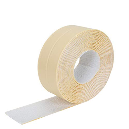 (Fullwei Caulk Strip PE Self Adhesive Tape, Waterproof Repair Flexible Sealant Tape Roll for Bathtub Bathroom Shower Toilet Kitchen and Wall Sealing 3.2mx2.2cm (Beige))