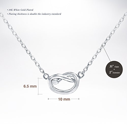 PAVOI 14K Yellow Gold Plated Infiity Love Knot Necklace Pendant - White by PAVOI (Image #1)