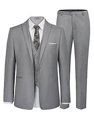 PAUL JONES Men's Slim Fit 1 Button 3-Piece Dress Suit Blazer Coat Tux Vest Pants