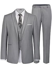 Men's Slim Fit One Button 3-Piece Dress Suit Blazer Coat Tux Vest & Pants