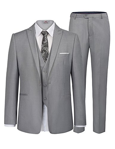 (Men's Prom Slim Fit 1 Button 3 Piece Blazer Jacket Tux Vest Pants Size S Grey )