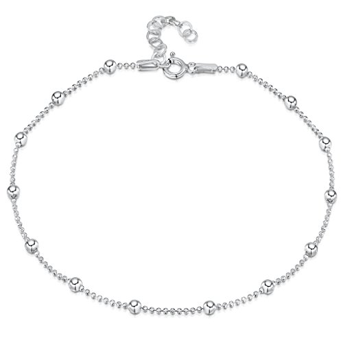 925 Fine Sterling Silver 3.2 mm Adjustable Anklet - Ball Bead Chain Ankle Bracelet - 9