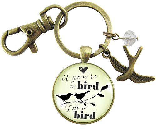 If You're a Bird I'm a Bird Pendant Keychain Love Inspired Quote Jewelry Boho Style Womens Pendant Gift Card -