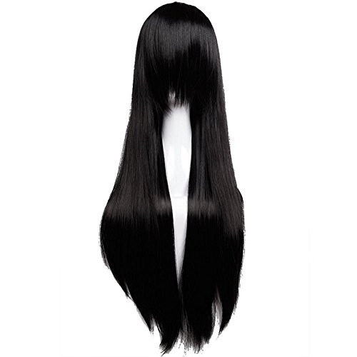 Black Long Synthetic Wig for Anime Cosplay Costume Crossdresser 32'' Straight Thick Full Wig with Bangs Japanese Kanekalon Heat Resistant Fiber -