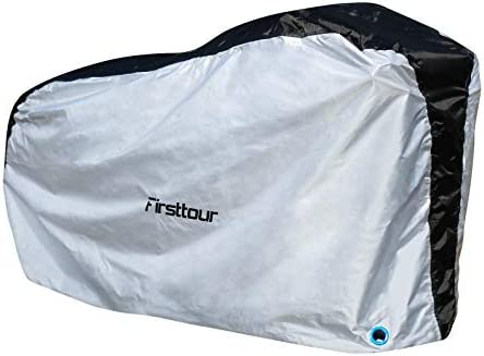 Firsttour 210D Oxford Fabric Bike Cover Waterproof for 1 or 2 Bikes, Dust-Proof, Anti-UV, Ripstop Material, Heavy Duty Bicycle Cover Waterproof, Silver