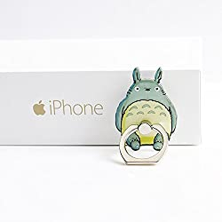 ZOEAST(TM) Phone Ring Grey Cat Kitty Kitten Universal 360° Rotating Phone Buckle Tablet Finger Grip Ring Stand Holder Kickstand Tablets for iPhone 4S 5 5S 6 6S SE 7 8 Plus X Samsung iPad (Totoro)