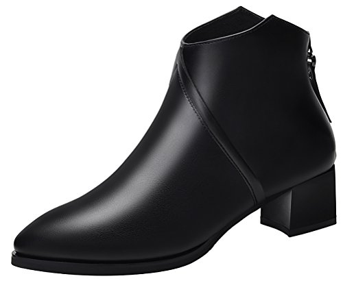 T&Mates Womens Comfort Faux Fur Lining Back Zipper Chunky Heel Winter Warm Ankle Booties (5.5 (Coming To America Wedding Dress)