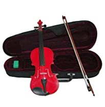 Merano MV300RD 1/10 Size Red Violin with Case and Bow+Extra Set of String, Extra Bridge, Rosin