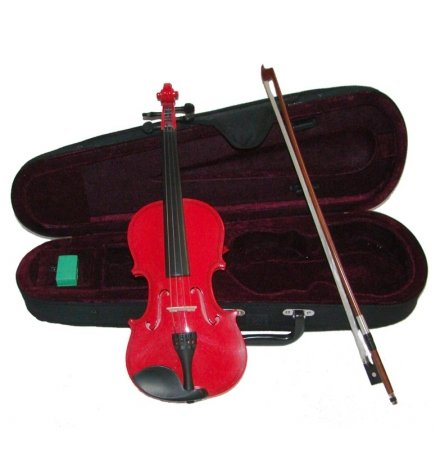 Merano MV300RD 1/10 Size Red Violin with Case and Bow+Extra Set of String, Extra Bridge, Rosin by Merano