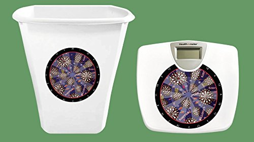 2-PC White Bathroom Set Includes a Trash Can and Digital Scale with your choice of a Novelty (Mlb Team Darts)