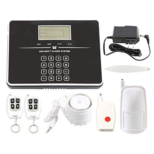 Wsdcam Wireless Home & Business GSM 99 Zones Security Alarm System with Intelligent Auto-Dial Touch Keypad, Door Contact, PIR Motion Detector, Remote Controls, Loud Siren and Panic Button