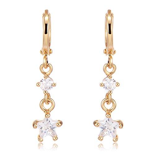 YAZILIND Elegante Colgante Zircon Estrella aretes de Oro hipoalergénico Plateado para Las Mujeres...