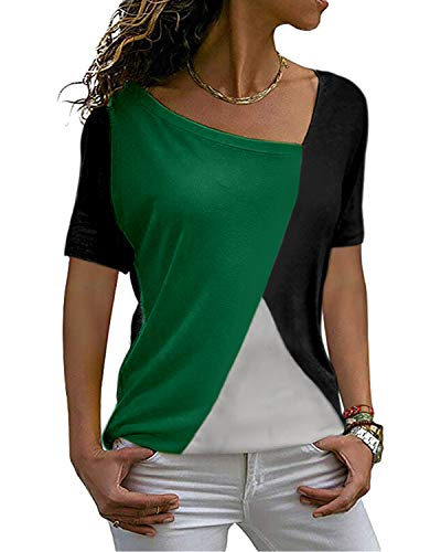 MISFAY Women's Summer Casual Short Sleeve T Shirt Color Block Patchwork Loose Fits Shirts Tunic Tops Blouses