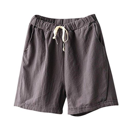 Tsmile Clearance Women Casual Cotton Linen Pants Summer Slim Elastic Waist Short Pants (Gray, (Dockers Womens Shorts)
