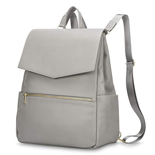 HaloVa Diaper Bag, Baby Nappy Backpack, Trendy Travel Leather Shoulder Bag for Mommy Maternity, Fashion and Retro, with Baby Changing Pad and Stroller Straps, Light Gray