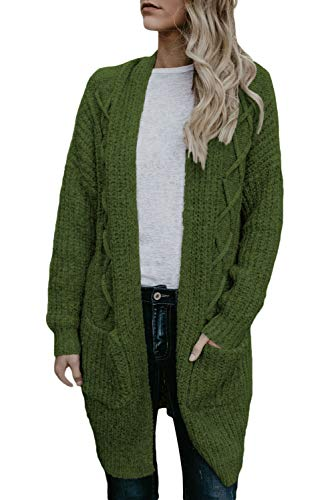 KCatsy Womens Cardigan Sweater Coat Knitted Long Sleeve Ribbed Pockets Solid Loose Casual Jumper Jacket (Vintage Rick Rack)