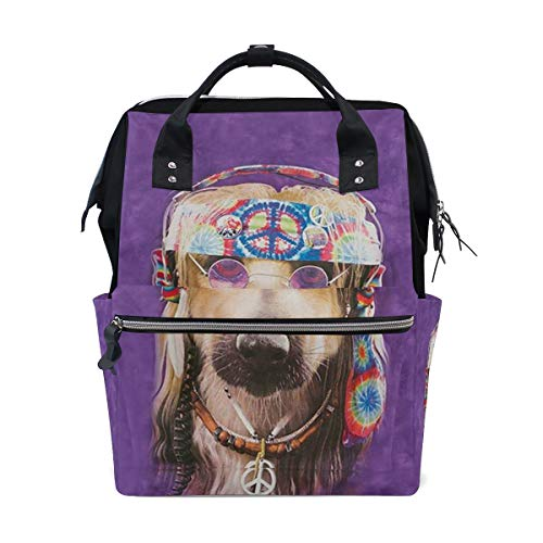 Groovy Dog Diaper Bag Multi-Function Travel Backpack Nappy Tote Bags for Mom & Dad Large Capacity