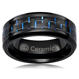 Cavalier Jewelers 8MM Jewelry Grade Black Ceramic Ring Wedding Band Black Blue Carbon Fiber Inlay