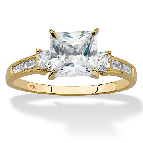 Baguette Square Ring - 10K Yellow Gold Princess Cut Cubic Zirconia Engagement Anniversary Channel Set Ring Size 5