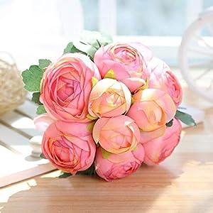 ARISLUX Chicken Party - 12pcs Artificial Rose Bouquet Decorative Silk Flowers Bride for Wedding Home Party Decoration Wedding Supplies 6