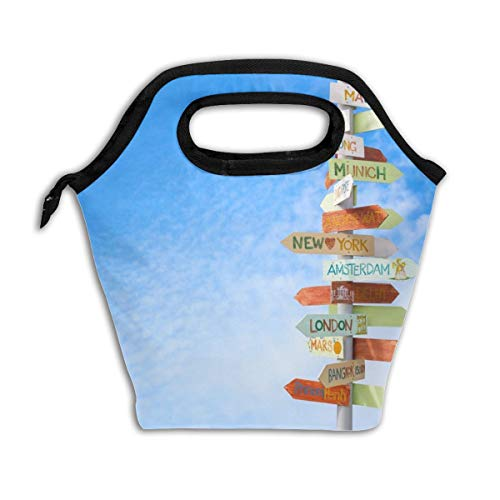 SITU Travel Traffic Sign Picnic Lunch Bag Lunch Box Insulated Cooler Water-Resistant, Meal Prep Travel Bag Reusable Zipper Lunch Bag, Handbag For Lunch