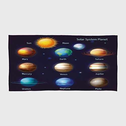 iPrint Cotton Microfiber Hotel SPA Beach Pool Bath Hand Towel,Educational,Solar System Planets and the Sun Pictograms Set Astronomical Colorful Design,Multicolor,for Kids, Teens, and Adults by iPrint