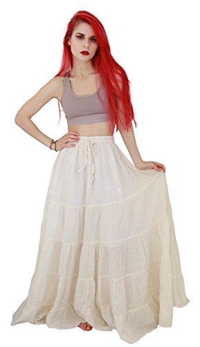 Billy's Thai Shop Cotton Maxi Skirt Boho Hippie Skirt Long Skirts for Women, Cream, One Size -
