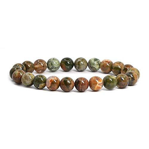 - Natural Rainforest Rhyolite Jasper Gemstone 8mm Round Beads Stretch Bracelet 7