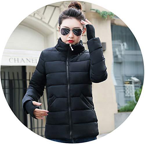 Winter Women Warm Long Women Parka Hooded Down Slim Outerwear Jacket,Short no hat Black,XXXL