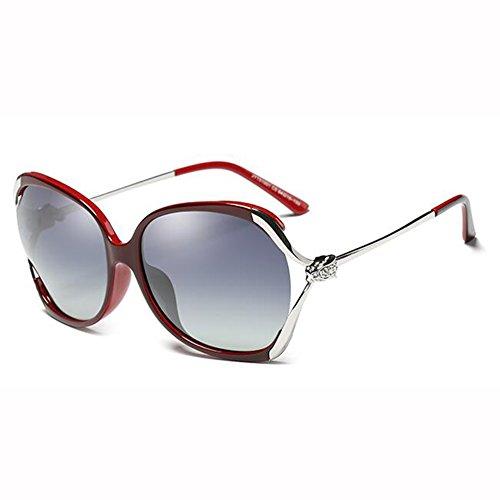 Diamante Gafas Polarizada De xin Gafas Color Moda Cara Tea Hembra Hueco Manejar Luz WX Imitación Caja Grande De Redonda Rojo Sol nS6CxTqwq