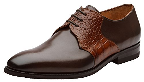 Oxfords Calf Brown (Dapper Shoes Co.. Handcrafted Genuine Leather Men's Classic Wingtip Brogue Oxford Leather Lined Perforated Dress Oxfords Shoes US 7-7.5 Dark Brown)