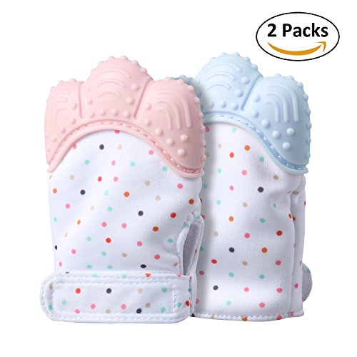 2 PCS Baby Teething Mitten, Self-Soothing Baby Teether & Pain Relief Baby Teething Toys, Safe Food Grade & BPA Free, Unisex for 3-12 Months Babies (Pink&Light Blue)