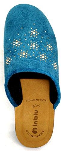 Pantoufles D'inblu Pantoufles D'hiver Des Femmes Art. Bj-70 Bleu Royal