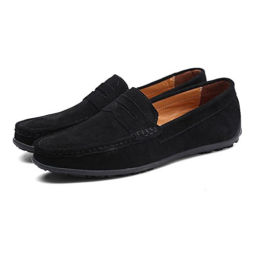 VILOCY Men's Casual Suede Slip On Driving Moccasins Penny Loafers Flat Boat Shoes Black,45 by VILOCY (Image #5)