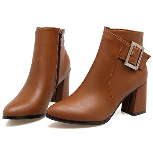 Women Booties High Block Fashion Brown Buckle Ankle Side Heel RAZAMAZA Dark Zipper d07wxd