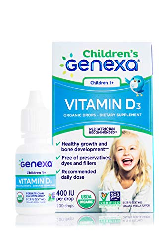 Genexa Vitamin D3 Drops for Children – Certified Organic and Non-GMO, Pediatrician Recommended | Promotes Healthy Growth…