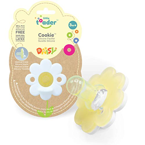Little Toader Cookie Baby Pacifier (Round Nipple - Solid Medical Grade Silicone Pacifiers) 3+ Month White Daisy for Girl
