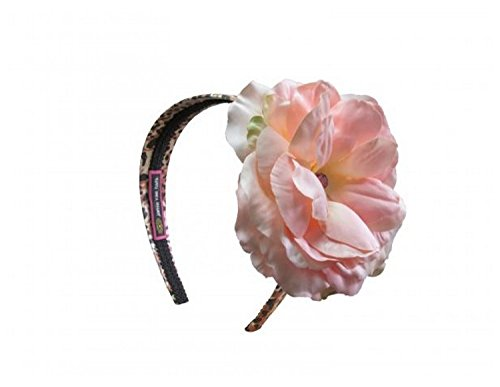 Jamie Rae Hats Leopard Hard Headband with Pale Pink Large Rose, One Size
