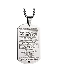 MeiHao Gifts for Son Daughter Pendant Necklace for Son Daughter Dog Tag Military Necklace Birthday Graduation Gift for Kids