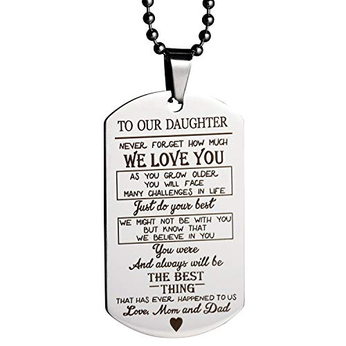 MeiHaoTo Our Son Daughter Pendant Necklace Love Dad Mom Dog Tag Military Necklace Birthday Graduation Gift for Kids (to Our Daughter) (Best Graduation Gifts From Parents)
