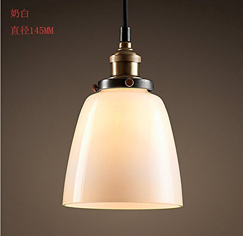(WYMBS Creative furniture decoration pendant light Vintage industrial-style glass Bell pendant , milk white)